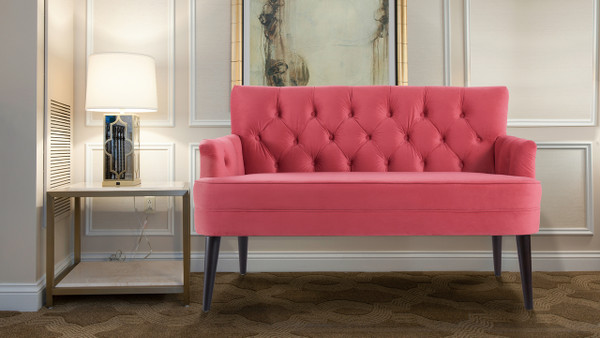 Mia Tufted Accent Settee, Garnet Rose