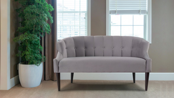 Skylie Recessed Arm Settee, Opal Grey