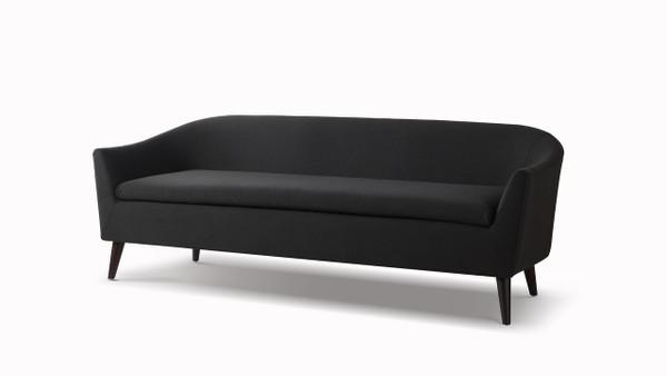 Lia Mid-Century Modern Sofa, Jet Black