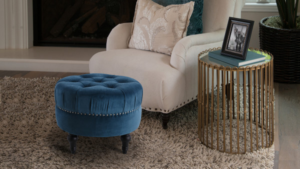 Dawn Tufted Round Ottoman, Satin Teal