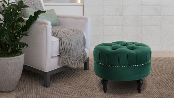 Dawn Tufted Round Ottoman, Evergreen