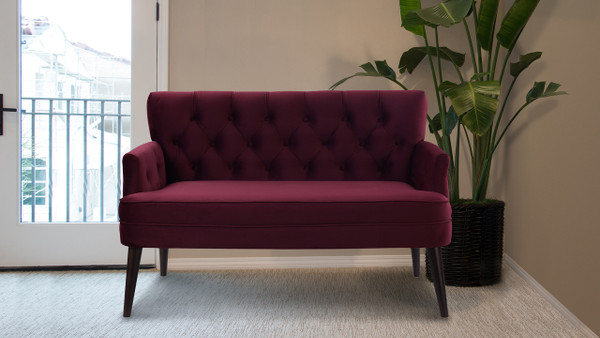 Mia Tufted Accent Settee, Burgundy