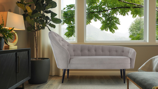 Kayleigh Tufted Chaise Lounge, Silver Grey