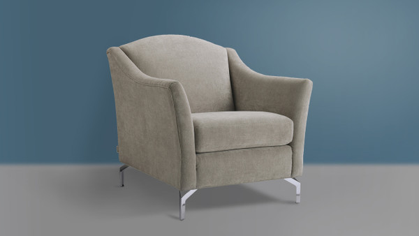 Vincent Camelback Arm Chair, Silver Grey