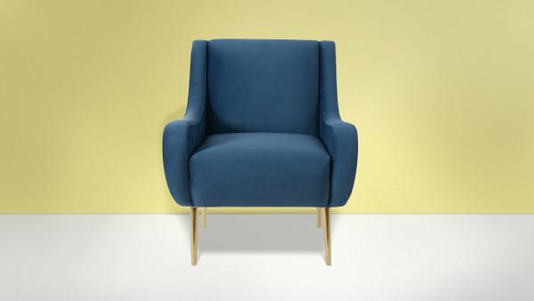 Corina Accent Chair, Satin Teal