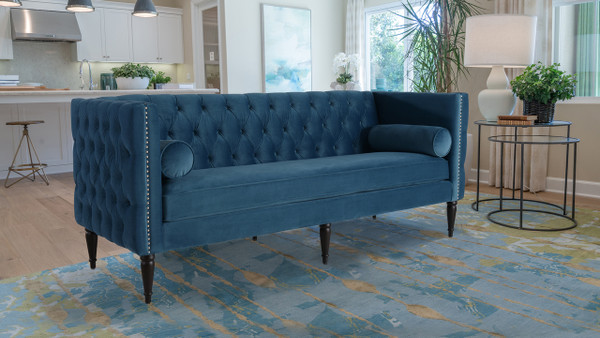Diane Button Tufted Tuxedo Sofa, Satin Teal