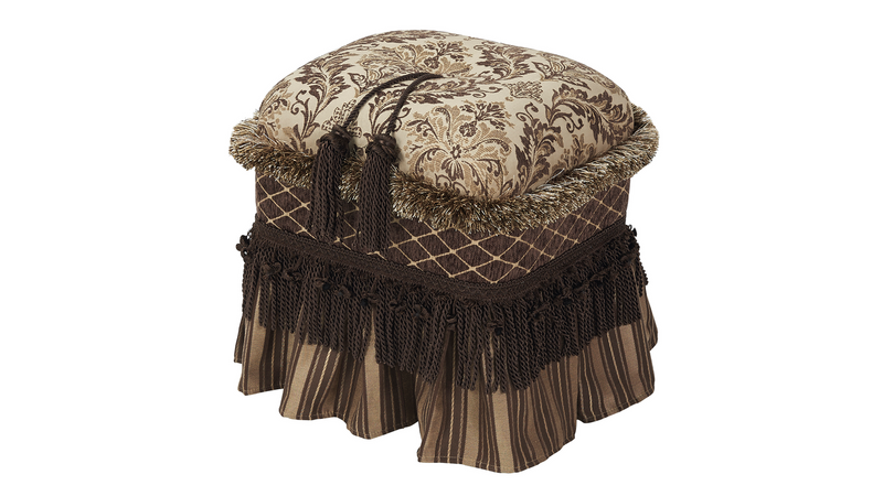 Cassandra Traditional Decorative Ottoman, Chenille, Brown