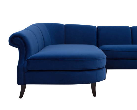 Victoria upholstered left sectional sofa navy blue for Sectional sofa victoria