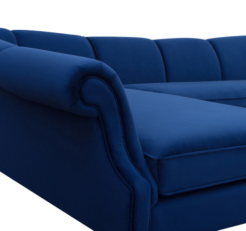 Victoria Upholstered Left Sectional Sofa Navy Blue