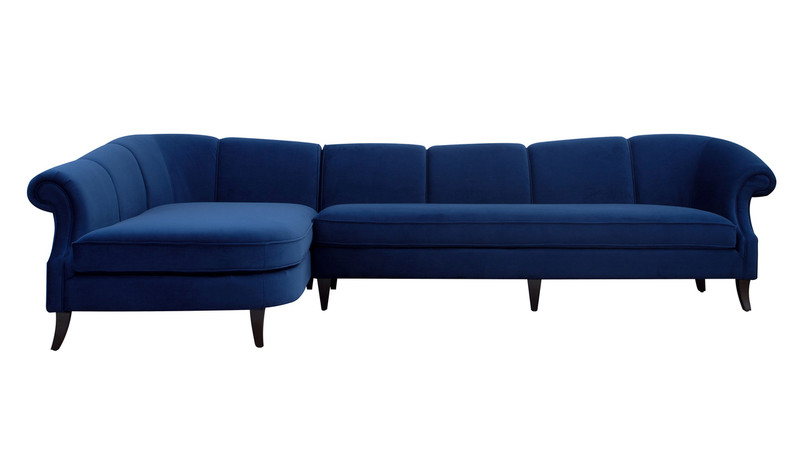 ... Victoria Upholstered Left Sectional Sofa, Navy Blue ...