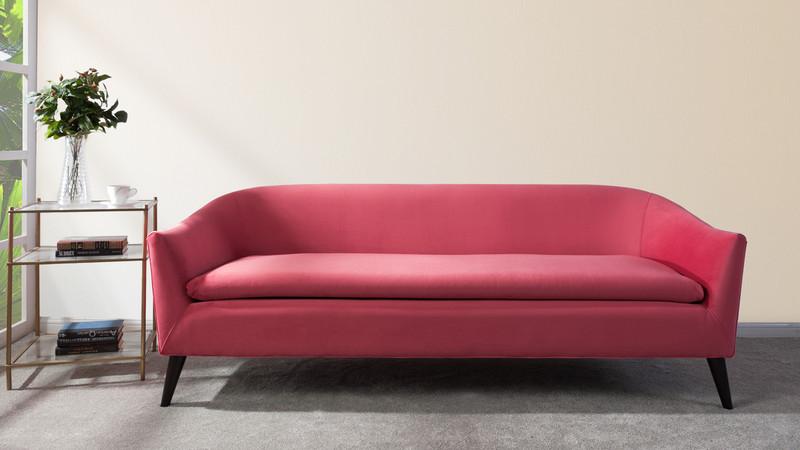 Lia Mid-Century Modern Sofa, Garnet Rose - Jennifer Taylor Home