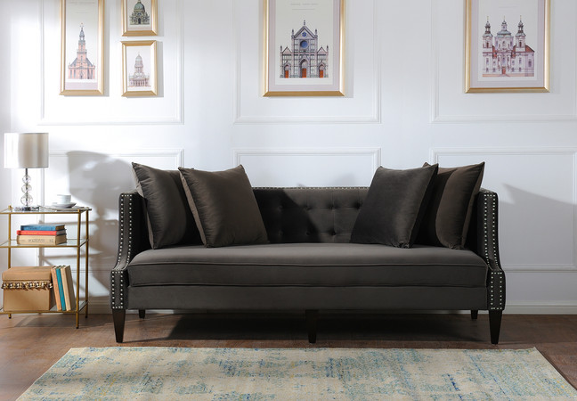Caroline Recessed Tuxedo Sofa Dark Charcoal Grey