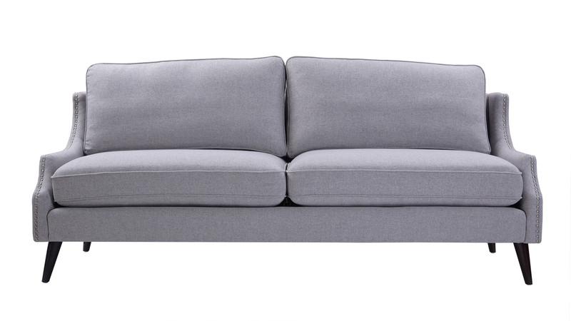 Ariana Upholstered Sofa, Light Grey
