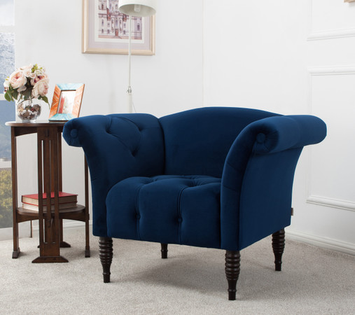 ... Danica Roll Arm Accent Chair, Navy Blue ...