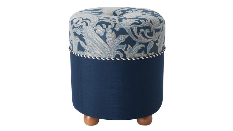 Mona Traditional Ottoman, Dusty Blue & Midnight Blue