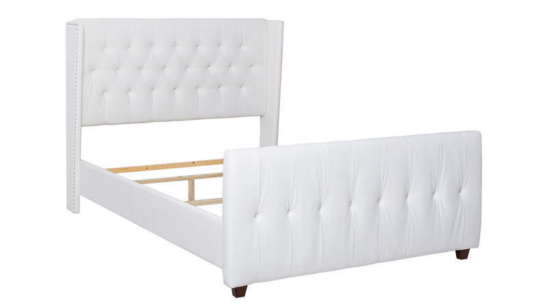 David Tufted Wingback Upholstered Bed, Antique White (Queen Size)