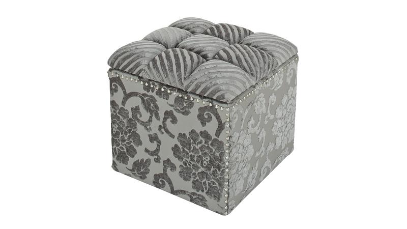 Natalia Tufted Storage Cube, Grey
