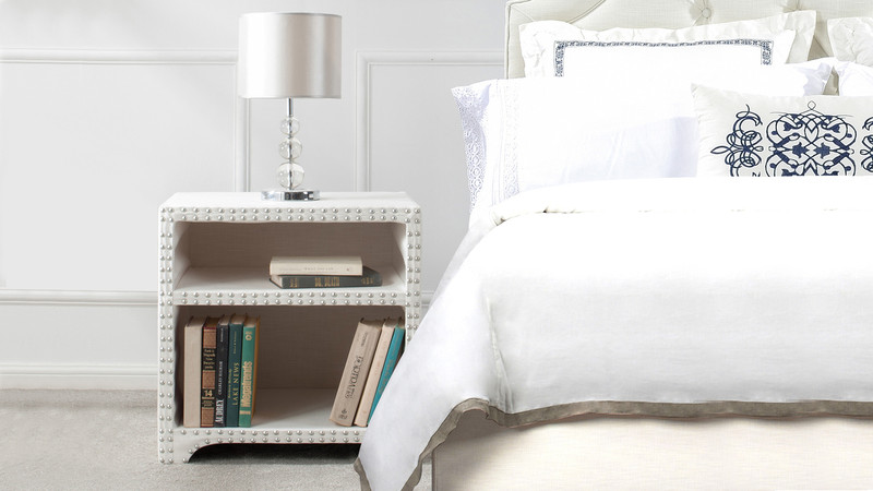 ... Jason Nailhead Side Table, Antique White ...