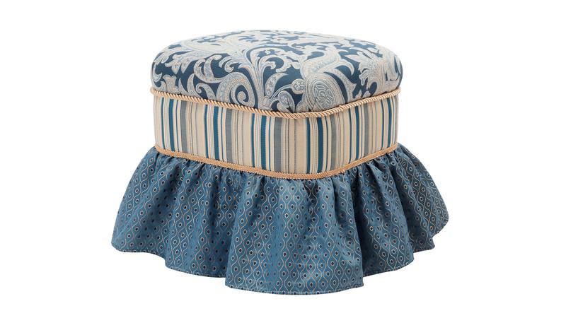 Macy Traditional Decorative Ottoman, Dusty Blue