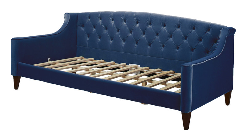 lucy upholstered sofa bed navy blue jennifer taylor home. Black Bedroom Furniture Sets. Home Design Ideas
