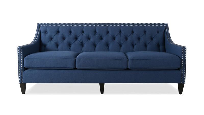 ... Marianne Tufted Sofa Nailhead Accents, Dark Sapphire Blue ...