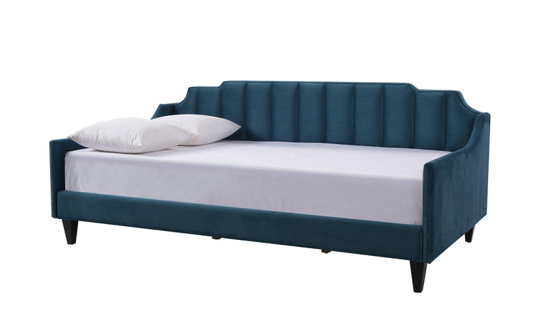 ... Edgar Channel Tufted Sofa Bed Daybed, Satin Teal ...