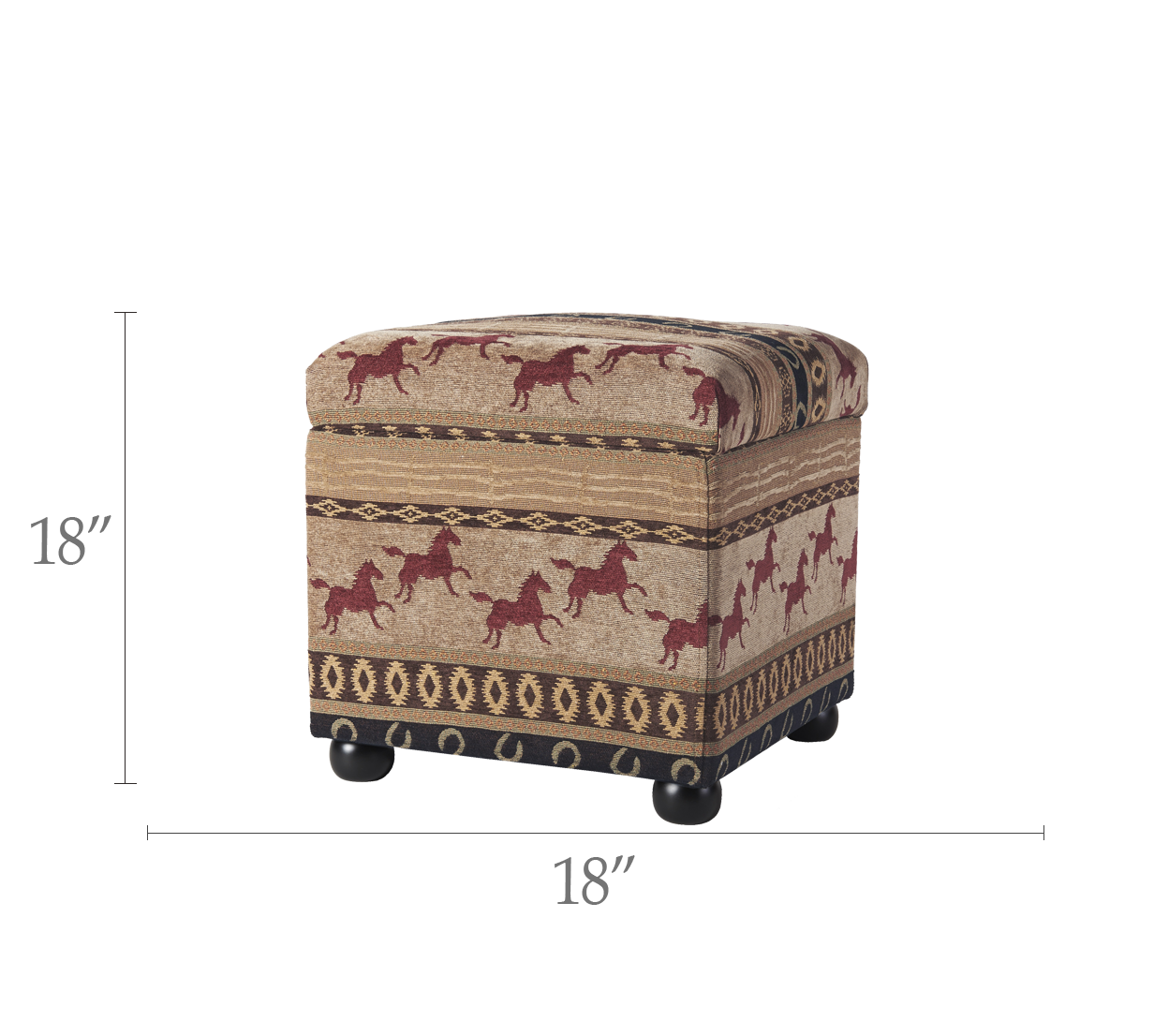 Equestrian Upholstered Storage Ottoman