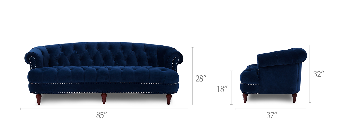 La Rosa Chesterfield Sofa, Navy Blue - Jennifer Taylor Home