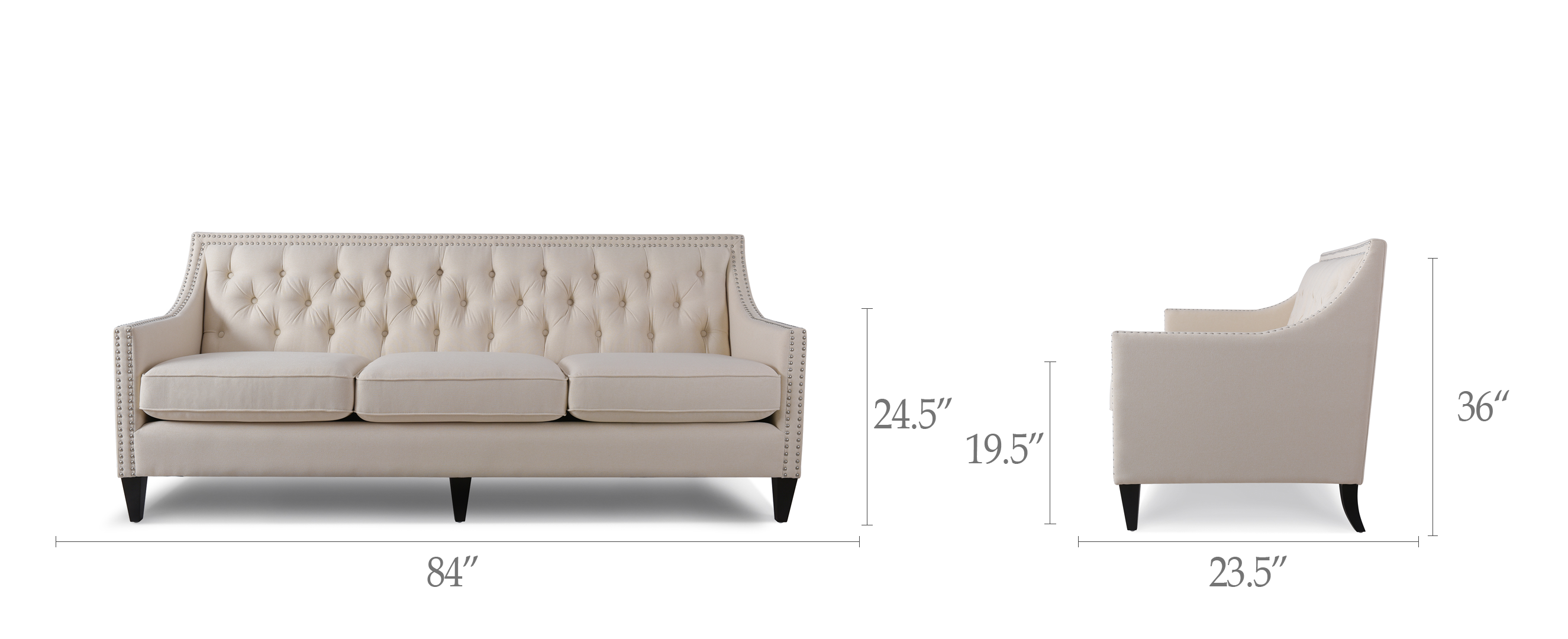 Marianne Tufted Sofa Nailhead Accents