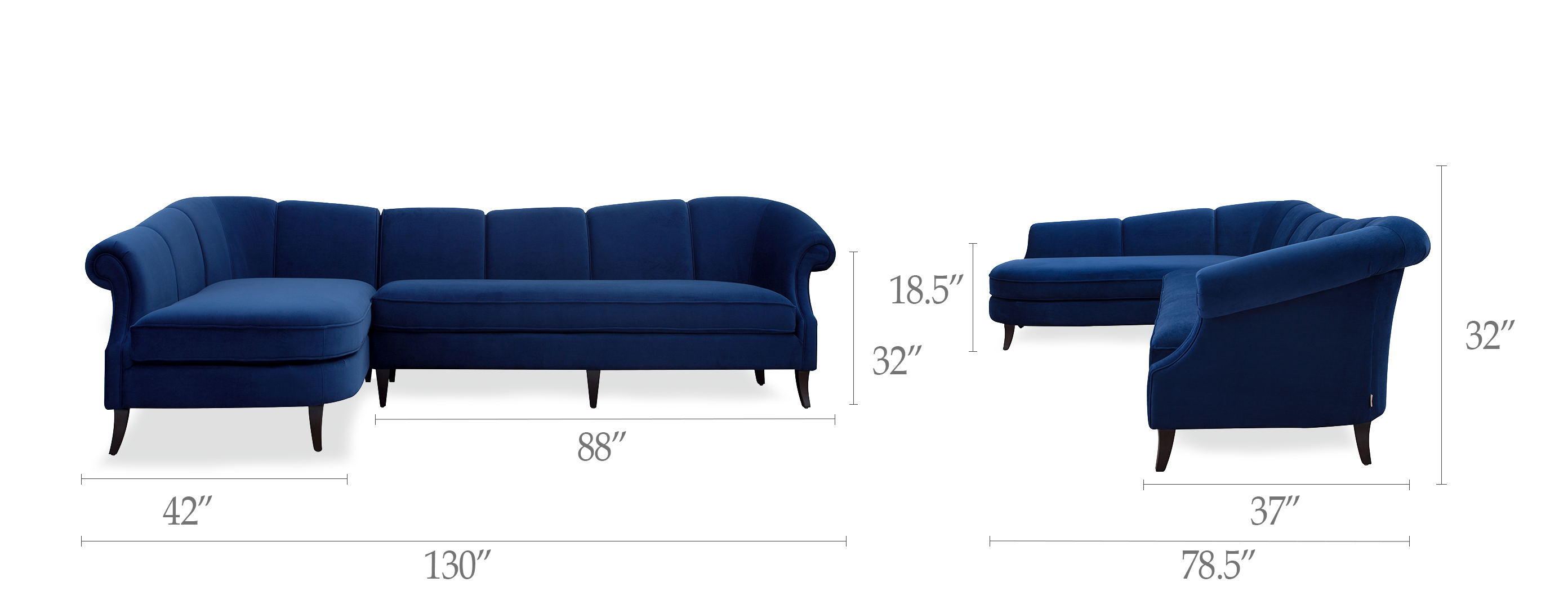 Victoria Upholstered Left Sectional Sofa