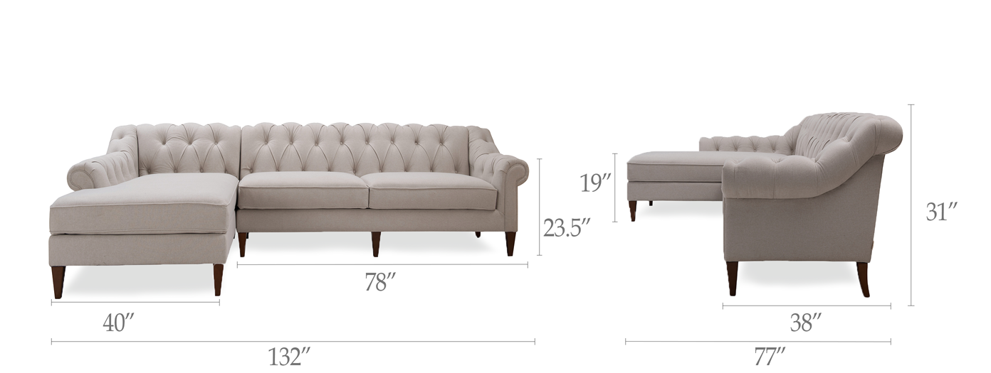 Alexandra Tufted Left Sectional Sofa