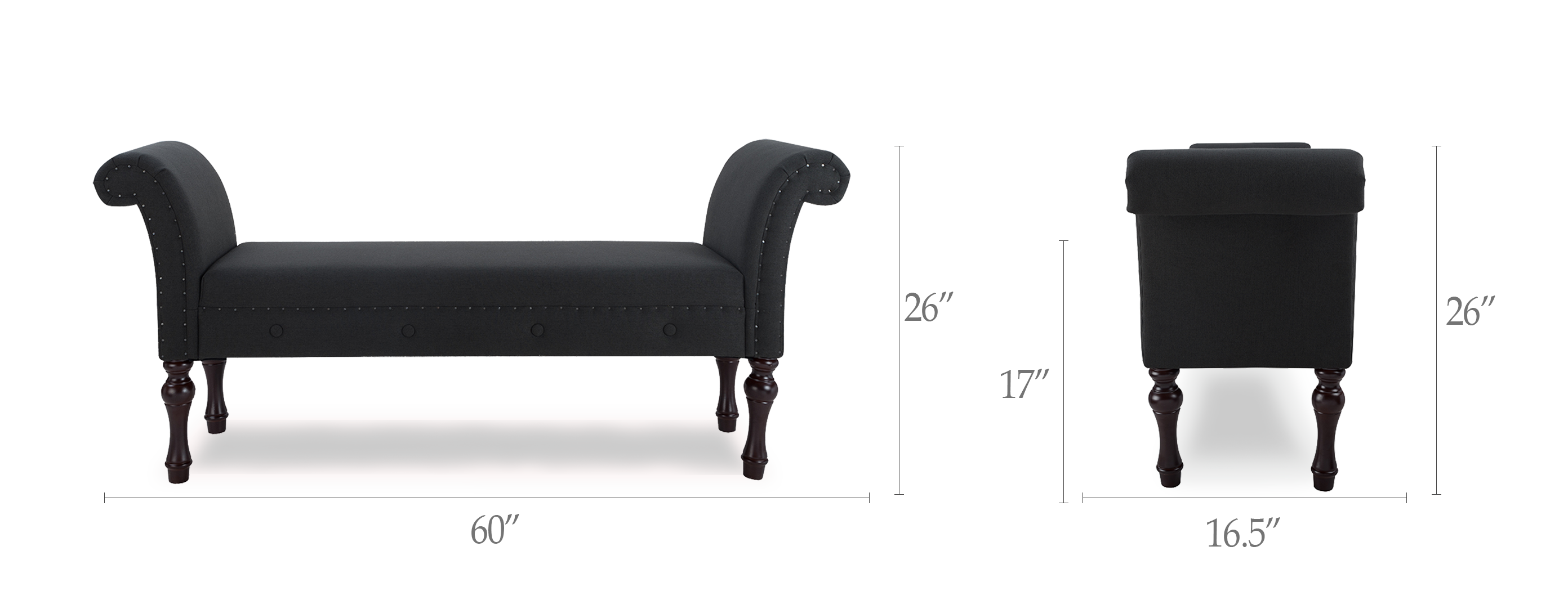 Elise Roll Arm Entryway Bench