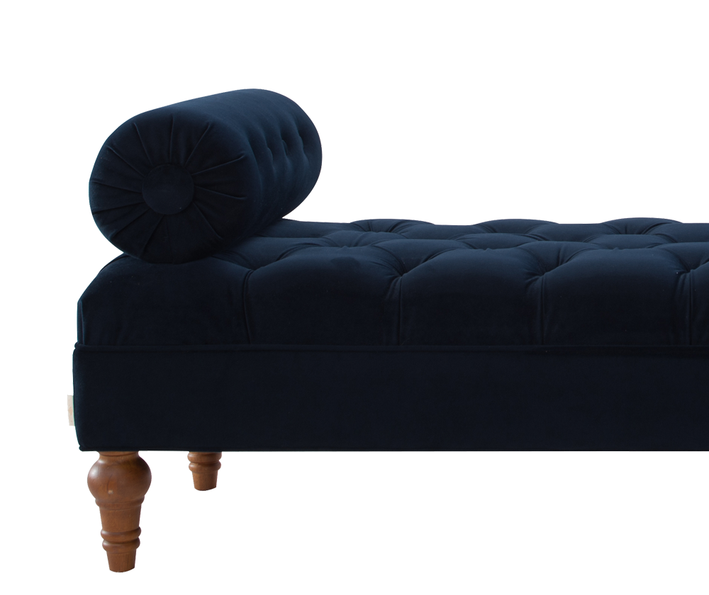 Lewis Bolstered Lounge Entryway Bench Dark Navy Blue