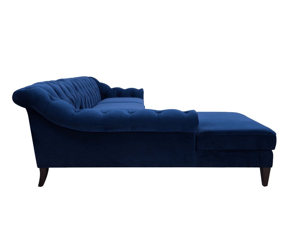 Alexandra Tufted Left dival Sofa, Navy Blue