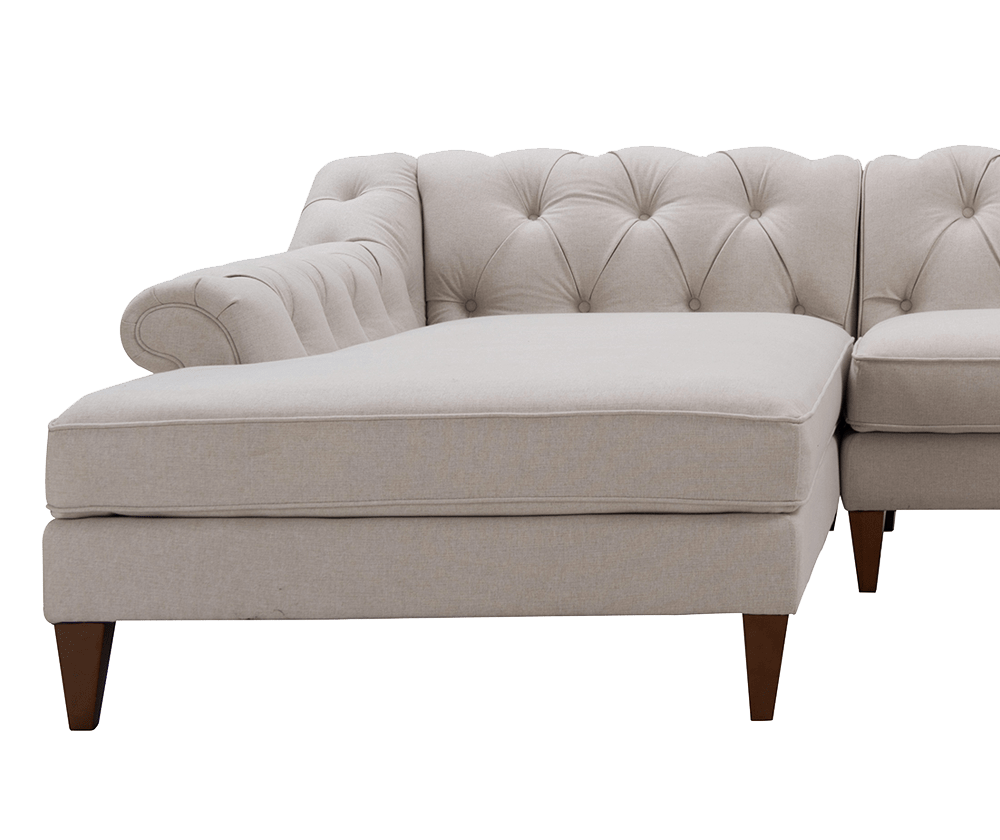 Alexandra Tufted Left dival Sofa, Bone White