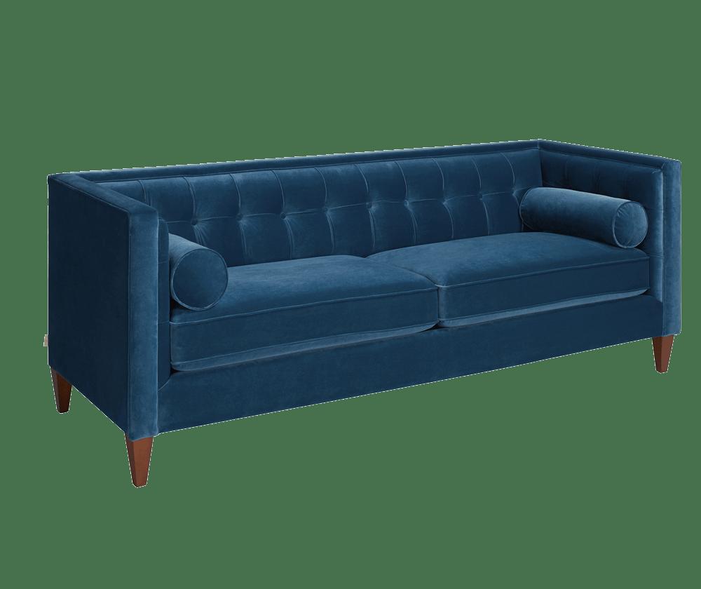 Jack Tuxedo Sofa, Satin Teal