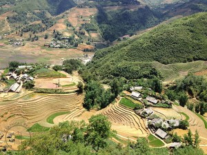 Traditional Hmong village in Northern Vietnam (at foot of mountains where herbs are still collected in the wild)