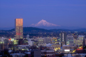 Portland, Oregon at twilight