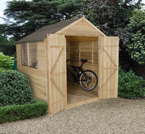Overlap Pressure Treated 7x7 Apex Shed Double Door