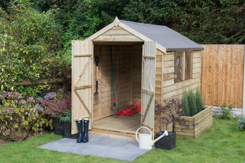 Overlap Pressure Treated 8x6 Apex Shed Double Door