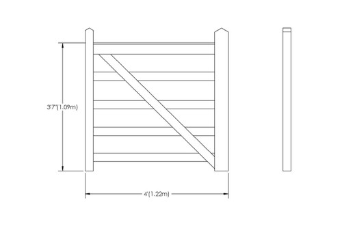 4' - 5 bar Field Gate Universal Hang