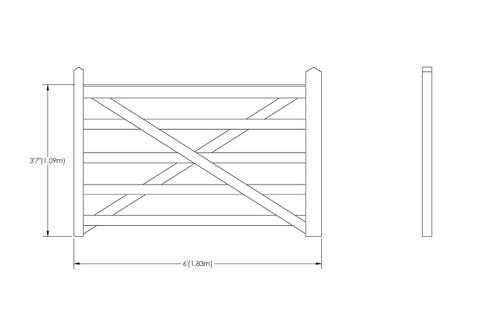 6' - 5 bar Field Gate Universal Hang