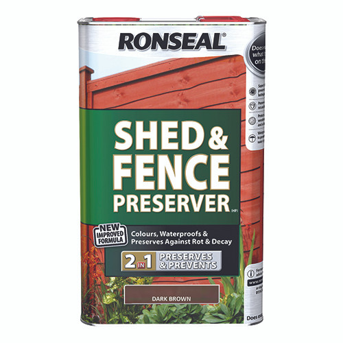 Ronseal Shed & Fence Preserver - Dark Brown 5L