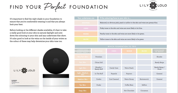 Lily Lolo Foundation - find link to chart in the product description