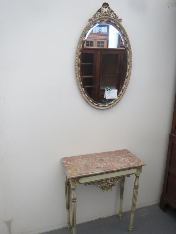 Pained marble top console table with mirror