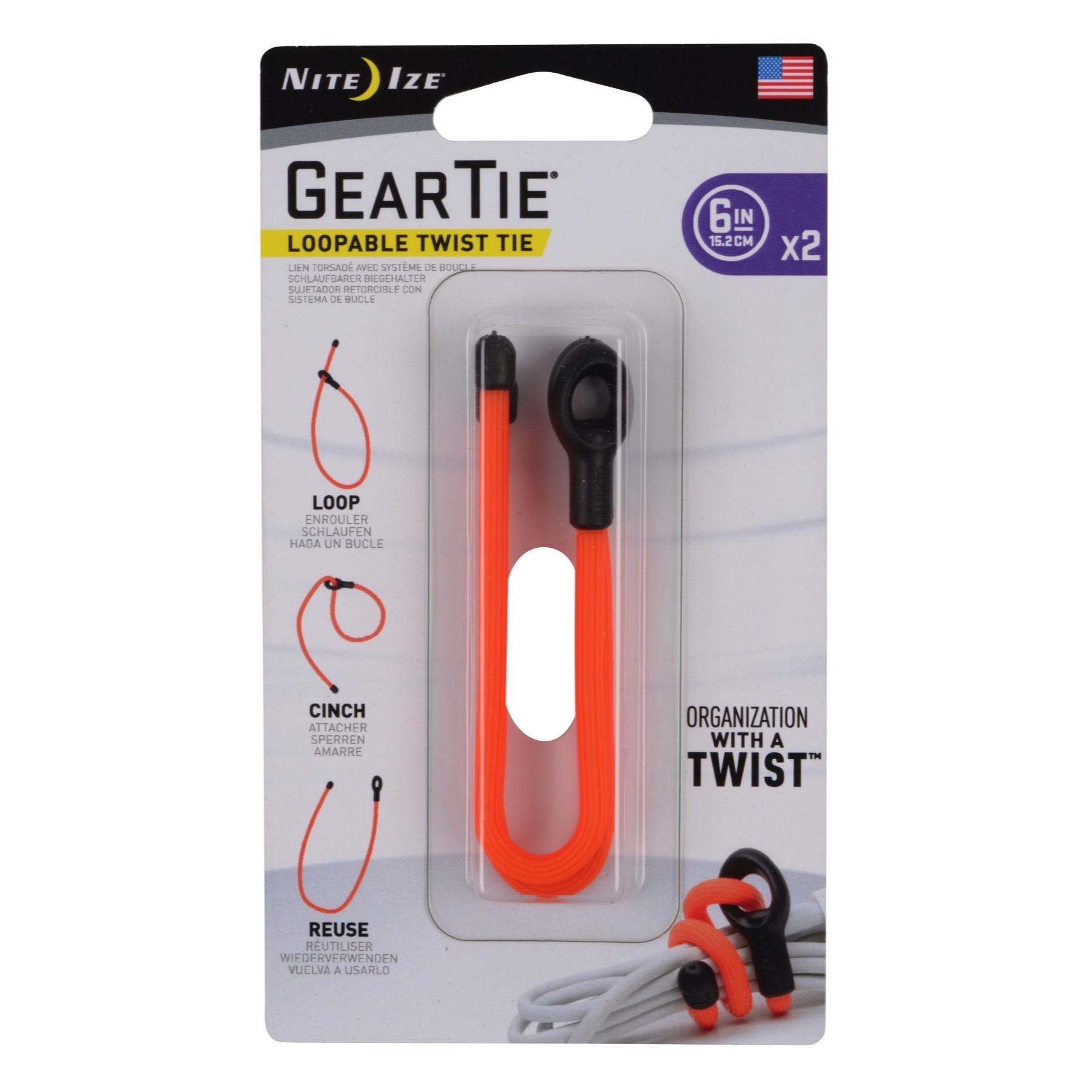 "Nite Ize Gear Tie Loopable 6/"" Bright Orange Rubber Twist Tie w// Loop 2-Count"