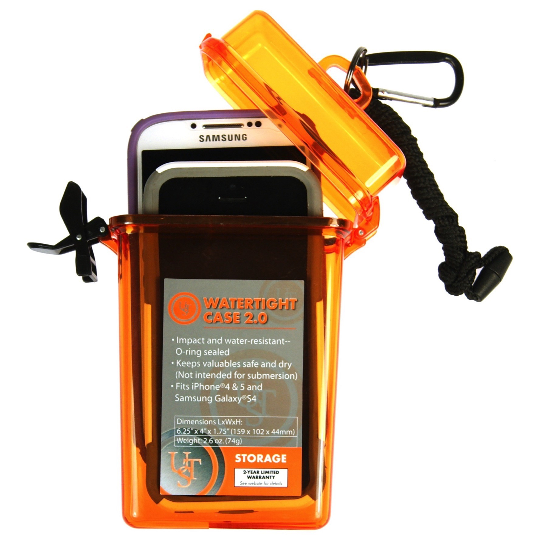 Ultimate Survival Technologies Watertight Container 1.0 Orange Tinder//Match Case
