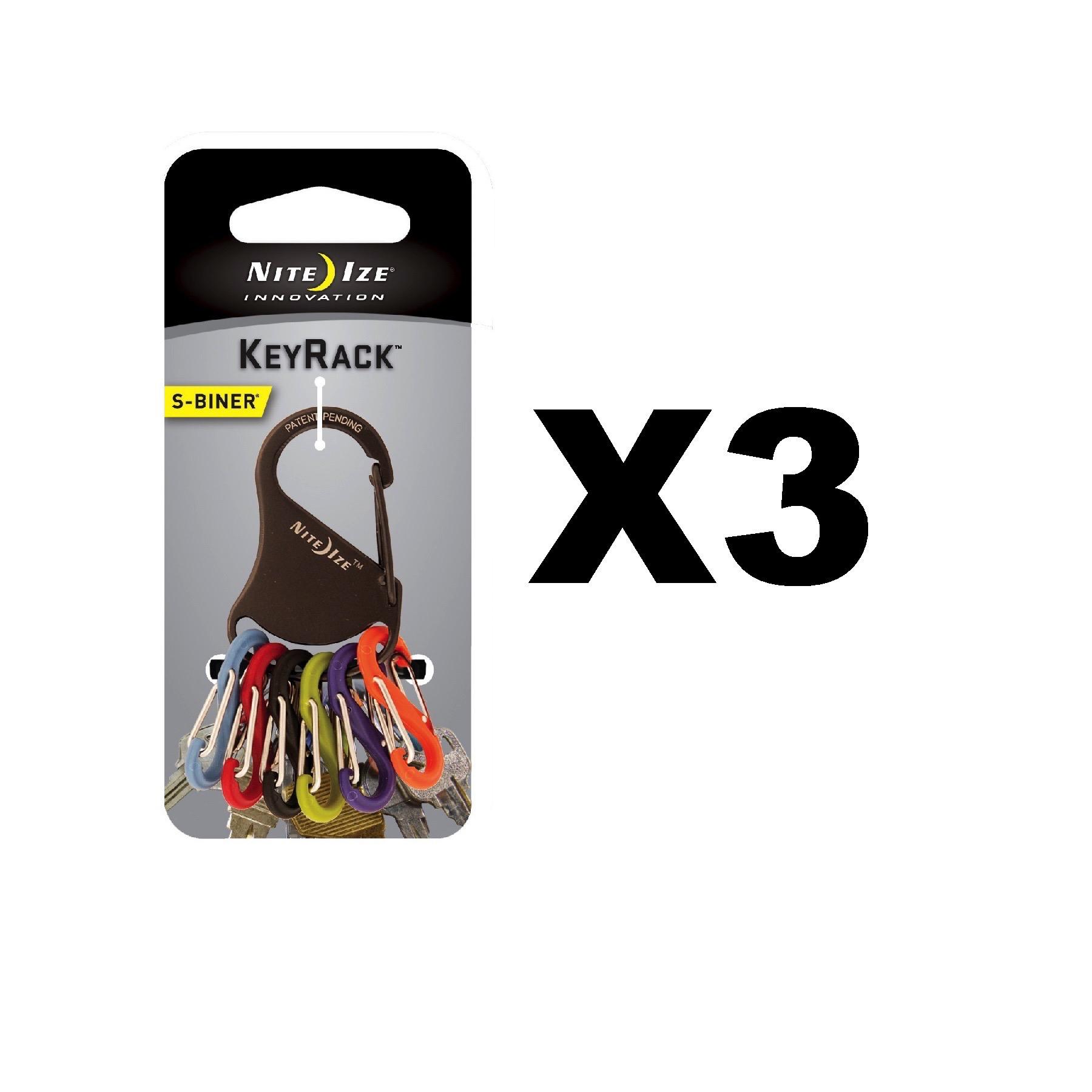 Nite Ize S-Biner KeyRack Black Stainless Steel Keychain Biner w//Plastic S-Biners