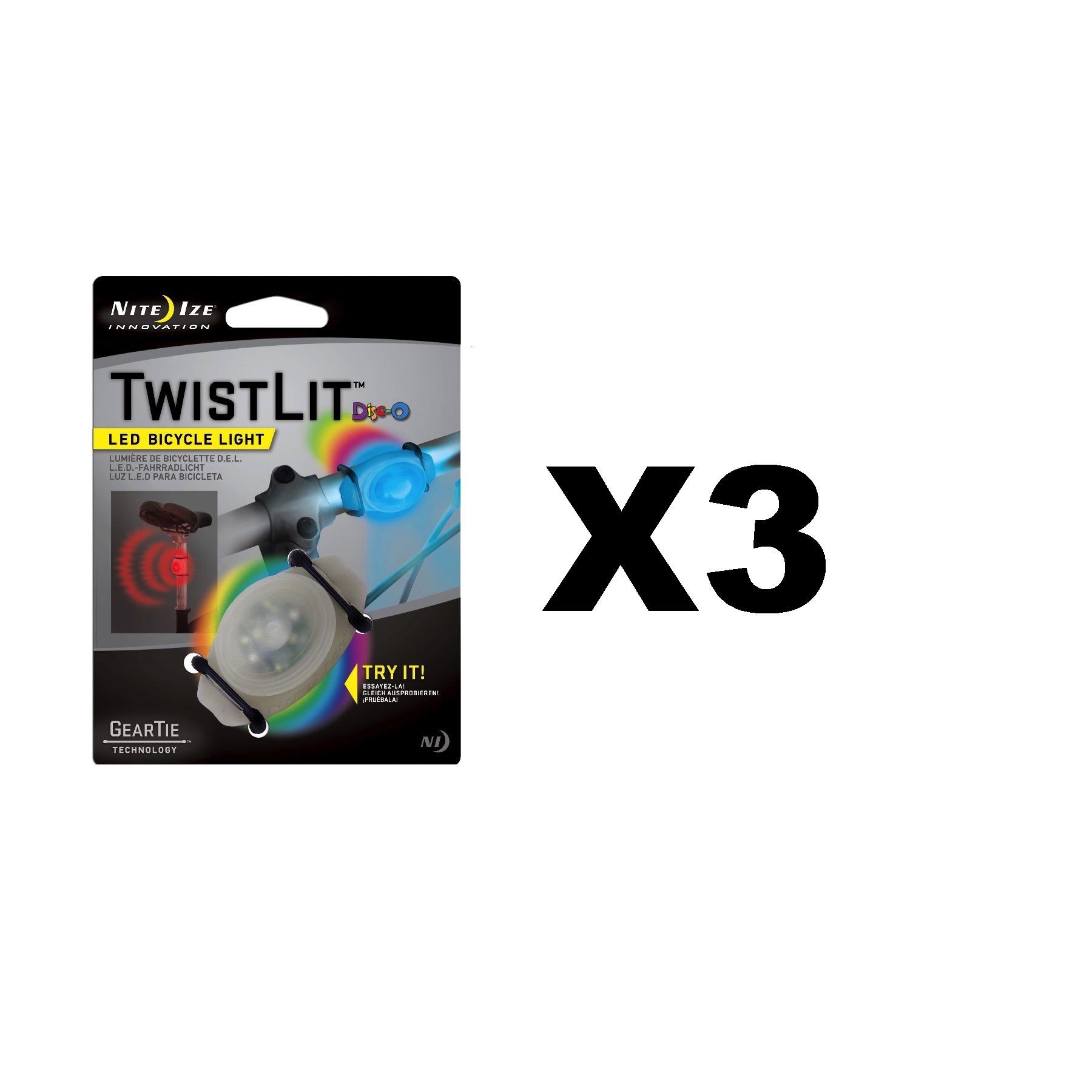Nite Ize TwistLit LED Bike Light Disco Bicycle Safety Glow /& Flash Modes 3-Pack