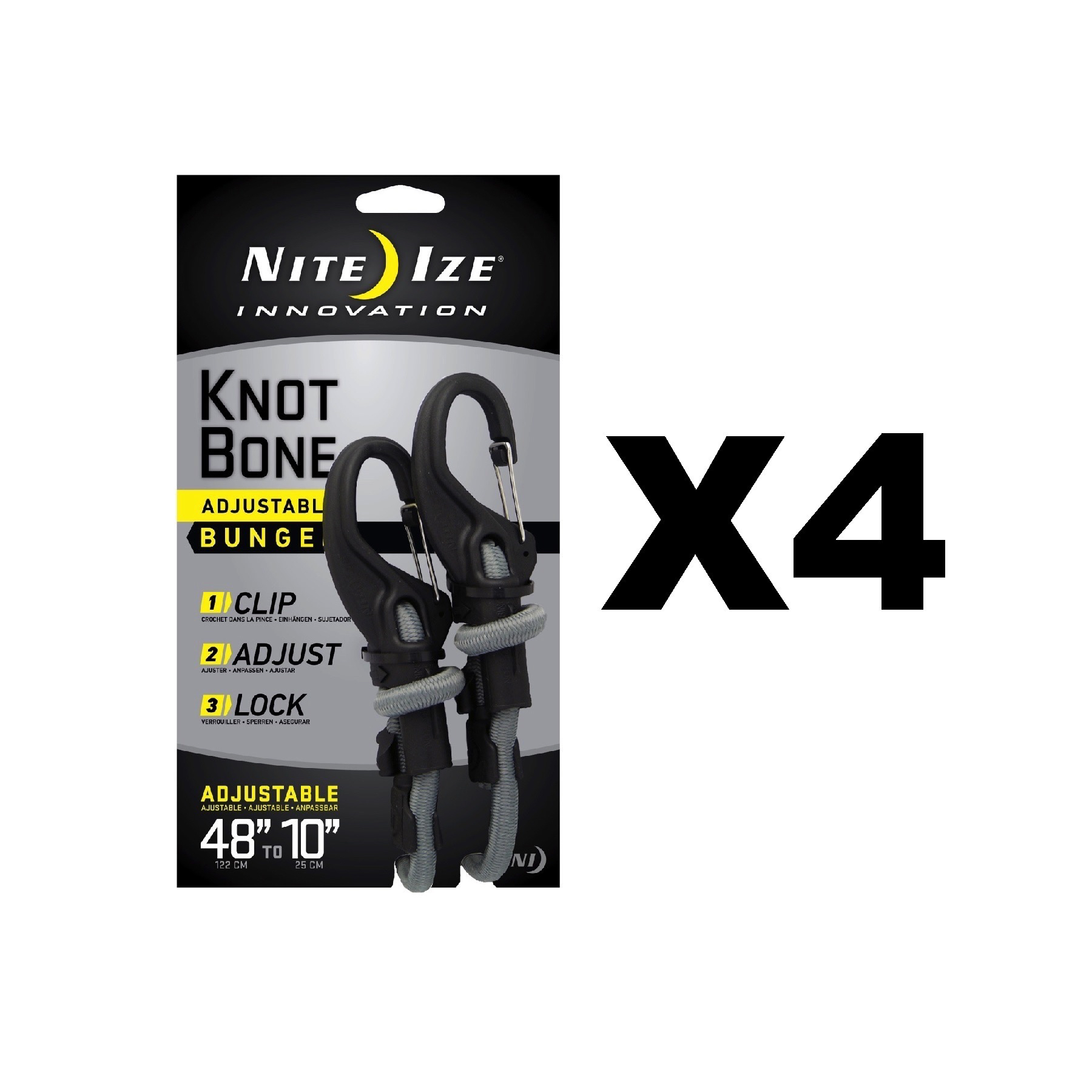 Nite Ize Large KnotBone Adjustable Bungee Cord Size #9 Bungee Cord With Carabiner Clip Ends Bungee Cord With Carabiner Clip Ends Adjustable Length 10-48 Adjustable Length 10-48 KBB9-03-01